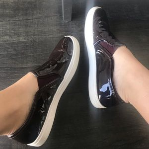 Halogen Burgundy Patent Slip On Sneakers - 5.5